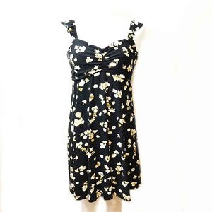Black And Yellow Floral Knit Dress